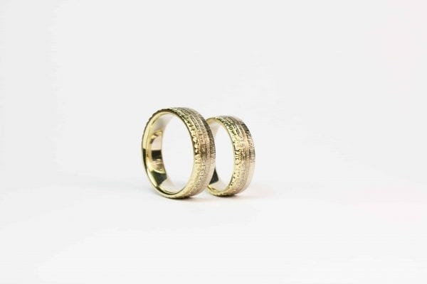 white and yellow gold wedding rings.